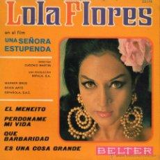 Discos de vinilo: B.S.O. FILM UNA SEÑORA ESTUPENDA - LOLA FLORES, EP, EL MENEITO + 3, AÑO 1968. Lote 43011824