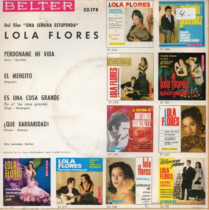 Discos de vinilo: LOLA FLORES - B.S.O. FILM UNA SEÑORA ESTUPENDA-, EP, EL MENEITO + 3, AÑO 1968 - Foto 2 - 43011824