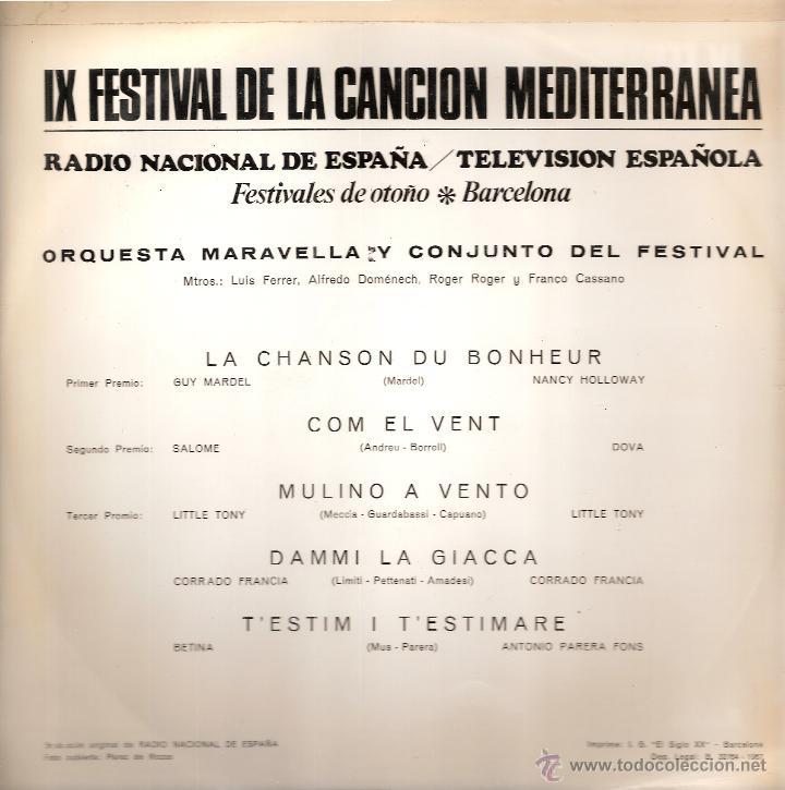 Discos de vinilo: SALOME, DOVA, BETINA, ETC (IX FESTIVAL DE LA CANCION MEDITERRANEA (LP) RNE/TVE 1967 - VG+/EX++ - Foto 2 - 43037295