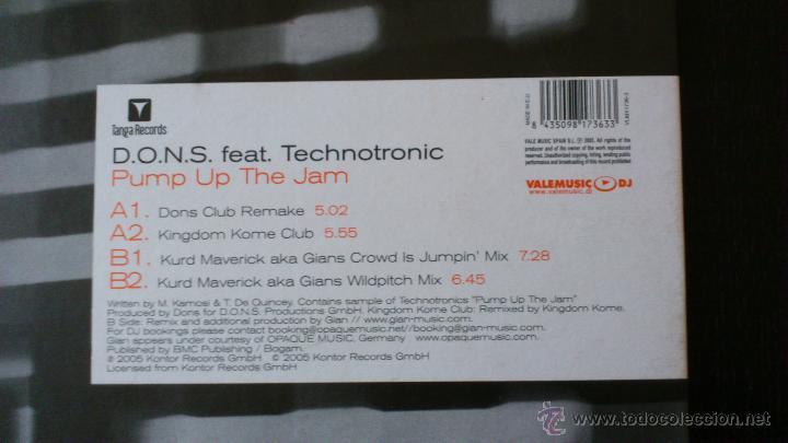 Discos de vinilo: D.O.N.S. FEAT TECHNOTRONIC - PUMP UP THE JAM - VINILO 12 - TANGA RECORDS - 2005 - Foto 3 - 43063074