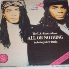 Disques de vinyle: MILLI VANILLI - ALL OR NOTHING - US REMIX ALBUM - MADE IN SPAIN 1989 - DOBLE PORTADA. Lote 43080310