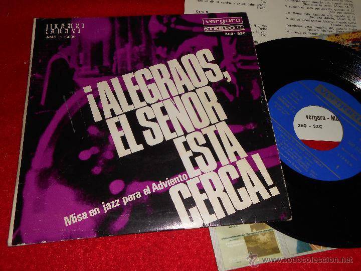 SEXTETO FITTY RATHMANN MISA EN JAZZ PARA EL ADVIENTO EP 1966 VERGARA ALEGRAOS EL SEÑOR ESTA CERCA (Música - Discos de Vinilo - EPs - Jazz, Jazz-Rock, Blues y R&B)
