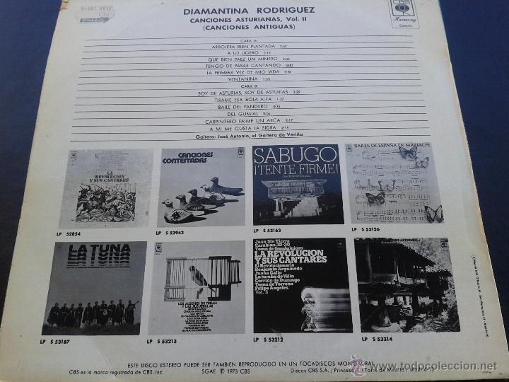 Discos de vinilo: LP - diamantina rodriguez **CANCIONES ASTURIANAS, VOL II CANCIONES ANTIGUAS** 1973 CBS** - Foto 2 - 43175531