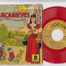 Discos de vinilo: CUENTO BLANCANIEVES Y LOS SIETE ENANITOS EP DE VINILO ROJO ODEON 1954. Lote 43179408
