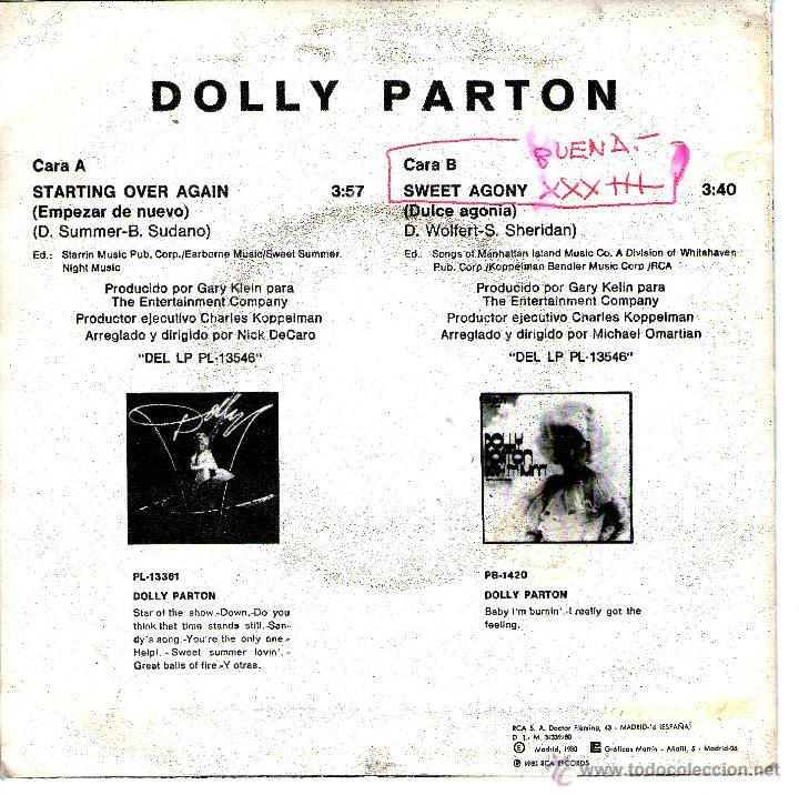Discos de vinilo: DOLLY PARTON - STARTING OVER AGAIN - Foto 2 - 43200605