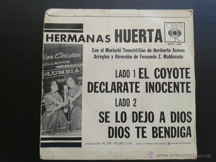 Discos de vinilo: SCGE - HERMANAS HUERTA **EL COYOTE + 3 MÁS** 1965 CBS MEXICO** RAREZA. - Foto 2 - 43225725