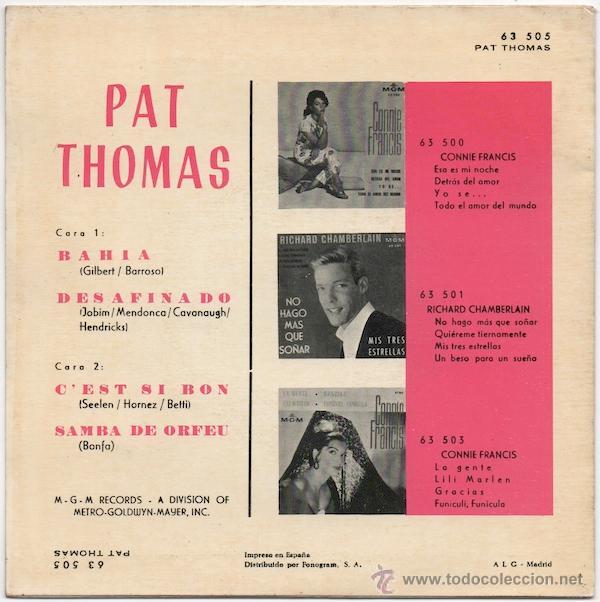 Discos de vinilo: Pat Thomas - Bahia/Desafinado/Cest si bon/Samba de orfeu - Foto 2 - 43279293