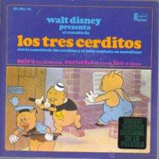 Discos de vinilo: SINGLE DISCO -WALTDISNEY LOS TRES CERDITOS - CUENTO -HISPAVOX 33 RPM . Lote 43296627