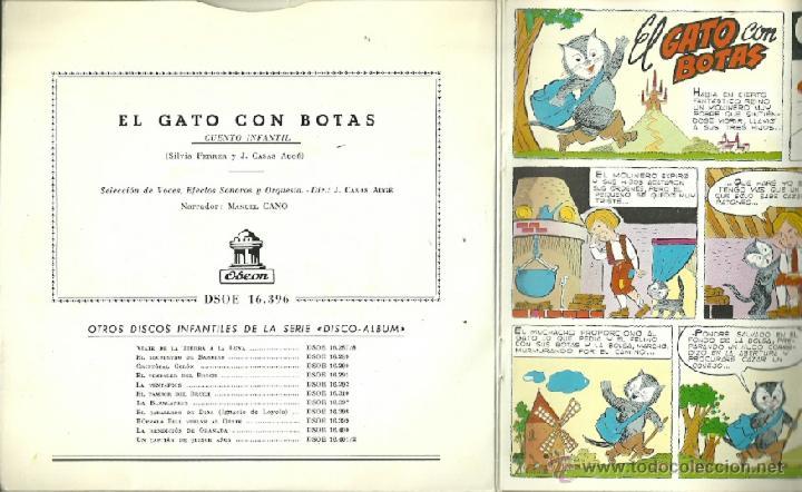 Discos de vinilo: EL GATO CON BOTAS (CUENTO) EP SELLO ODEON AÑO 1960 CON 3 HOJAS DE COMIC - Foto 2 - 43300663
