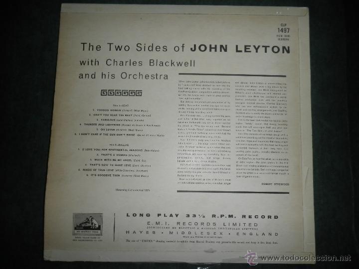 Discos de vinilo: JOHN LEYTON - THE TWO SIDES OF LP - ORIGINAL INGLES - HIS MASTER VOICE RECORDS 1961 MONO - AUTENTICO - Foto 2 - 43319982