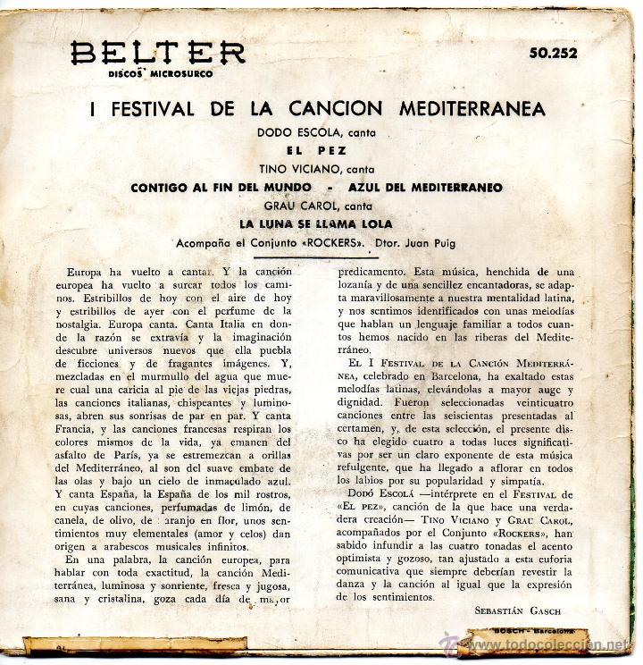 Discos de vinilo: I FESTIVAL DE LA CANCION MEDITERRANEA, EP, DODO ESCOLA -- EL PEZ + 3, AÑO 1959 - Foto 2 - 43335708