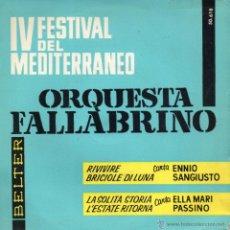 Discos de vinilo: IV FESTIVAL DE LA CANCION MEDITERRANEA, EP, ENNIO SANGIUSTO -- RIVIVERE + 3, AÑO 1962. Lote 43335814