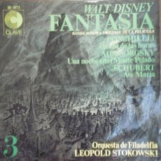 Discos de vinilo: LEOPOLDO STOKOWSKI - WALT DISNEY FANTASIA Nº 3 - MADE IN SPAIN - CLAVE - LP. Lote 43366415