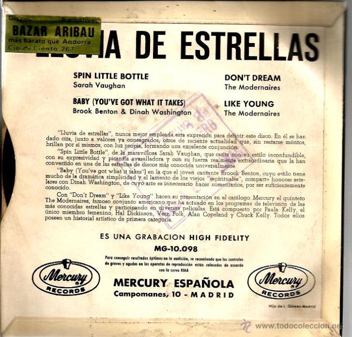 Discos de vinilo: EP LLUVIA DE ESTRELLAS : SARAH VAUGHAM + THE MODERNAIRES + BROOK BENTON & DINA WASHINGTON - Foto 2 - 43385335