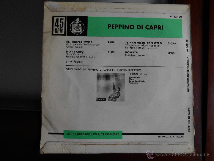 Discos de vinilo: Peppino di capri-Hispavox-St Topez twist,no te creo /Te han visto con otro,roberta - Foto 2 - 43432418