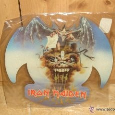 Discos de vinilo: IRON MAIDEN THE EVIL THAT MEN DO SHAPED PICTURE DISC VINYL. Lote 43438093
