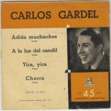 Discos de vinilo: CARLOS GARDEL, ADIOS MUCHACHOS Y OTRAS, SINGLE DEL SELLO ODEON DEL AÑO 1955. Lote 43439676