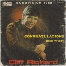 Discos de vinilo: CLIFF RICHARD - CONGRATULATIONS (EUROVISIÓN 1968) Y OTRA. SINGLE DE LA VOZ DE SU AMO AÑO 1.968. Lote 43440179