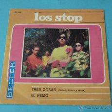Discos de vinilo: LOS STOP. TRES COSAS (SALUD, DINERO Y AMOR). EL REMO. Lote 43450041