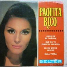 Discos de vinilo: PAQUITA RICO - AMOR ES MI CANCION +3. Lote 43526496