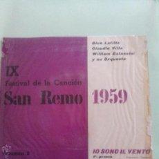 Discos de vinilo: IX SAN REMO 1959. IO SONO ILVENTO. LA LUNA E UN' ALTRA LUNA.UNA MARCIA IN FA. SAEF SR149 (1959). Lote 43565252