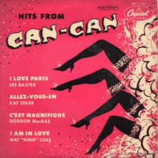 Discos de vinilo: HITS FROM CAN-CAN, EP, LES BAXTER -- I LOVE PARIS + 3, AÑO 1959. Lote 43603824