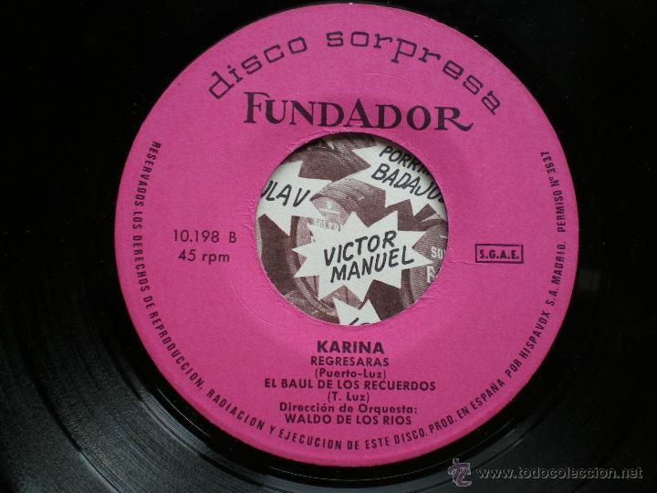 Discos de vinilo: EP FUNDADOR /KARINA /VER FOTO ADICIONAL PEPETO - Foto 2 - 43610982