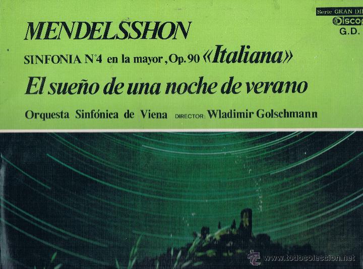MENDELSSHON SINFONICA DE VIENA (Música - Discos de Vinilo - EPs - Clásica, Ópera, Zarzuela y Marchas)