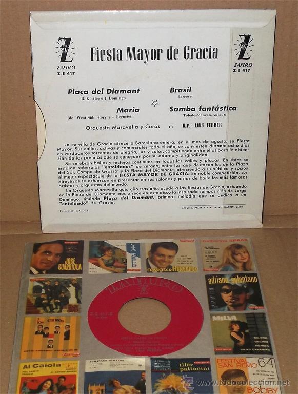 Discos de vinilo: Fiesta Mayor de Gracia - Orquesta Maravella y Coros. Dir. Luis Ferrer (1962) - Foto 2 - 43613239