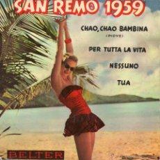 Discos de vinilo: CONJUNTO RECORD - FESTIVAL SAN REMO 1959, EP, CHAO, CHAO BAMBINA (PIOVE) + 3, AÑO 1959. Lote 43620738