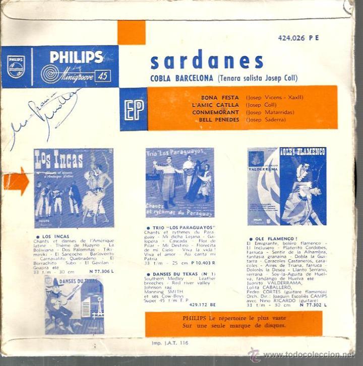 Discos de vinilo: EP SARDANES : COBLA BARCELONA : BONA FESTA + 3 ( PHILIPS FRANCE ) - Foto 2 - 43632354