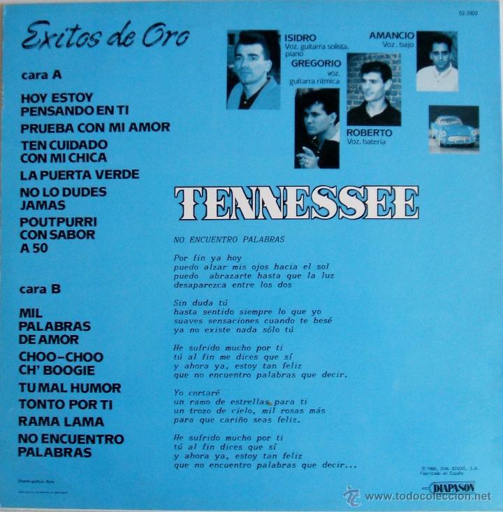 Discos de vinilo: TENNESSEE - EXITOS DE ORO {LP} - VG+ / VG+ [INCLUYE SINGLE DE REGALO] TENNESSE - Foto 2 - 43639220