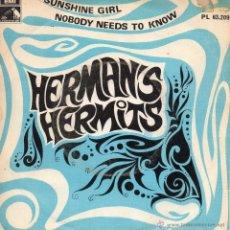 Discos de vinilo: HERMAN´S HERMITS, SG, SUNSHINE GIRL + 1, AÑO 1968. Lote 43676094