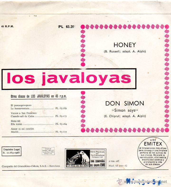 Discos de vinilo: JAVALOYAS, SG, HONEY + 1, AÑO 1968 - Foto 2 - 43694675