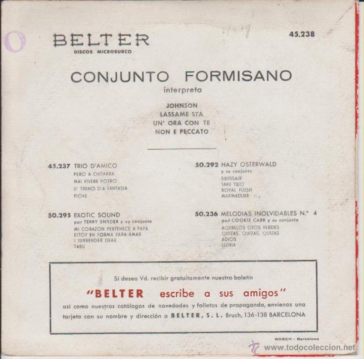 Discos de vinilo: CONJUNTO FORMISANO - JOHNSON - LASSAME STA - NON E PECCATO EP SPAIN 1959 VG+ / VG+ - Foto 2 - 43749745