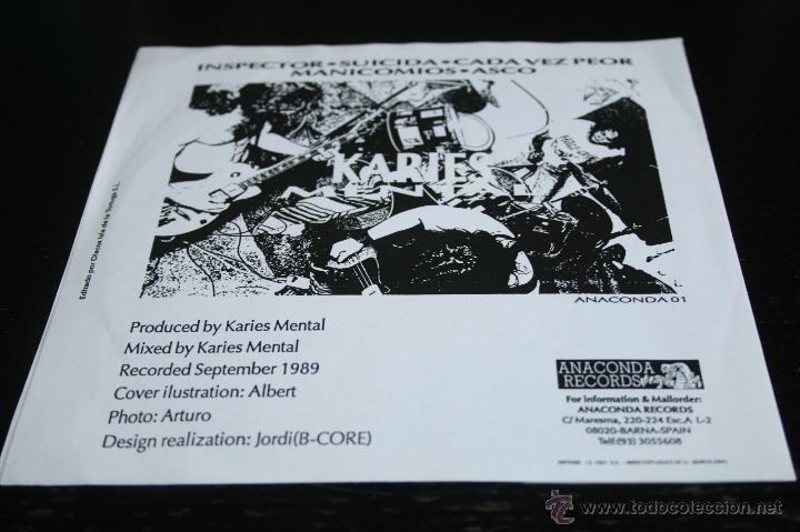 Discos de vinilo: EP KARIES MENTAL 1991 ANACONDA RECORDS HARDCORE - Foto 2 - 43750460