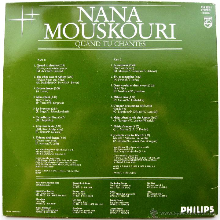 Discos de vinilo: Nana Mouskouri - Quand Tu Chantes - LP Philips 1983 Holanda BPY - Foto 2 - 43757097