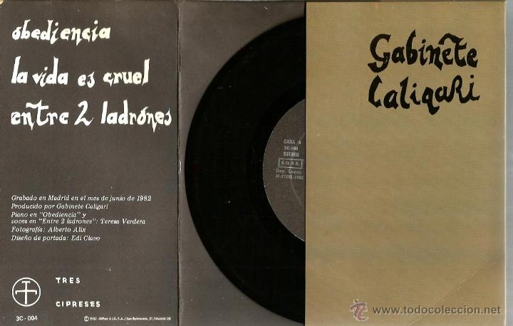 Discos de vinilo: EP GABINETE CALIGARI : OBEDIENCIA + LA VIDA ES CRUEL + ENTRE DOS LADRONES - Foto 3 - 43826226