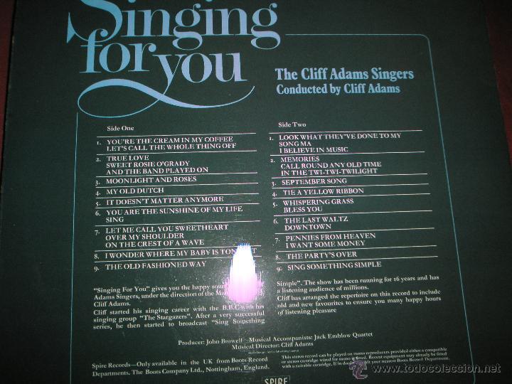 Discos de vinilo: LP-VINILO-GRAN BRETAÑA-SINGING FOR YOU-CLIFF ADAMS SINGERS-SPIRE-SSR 75/1-18 TEMAS-1975-VER F. - Foto 3 - 43862588