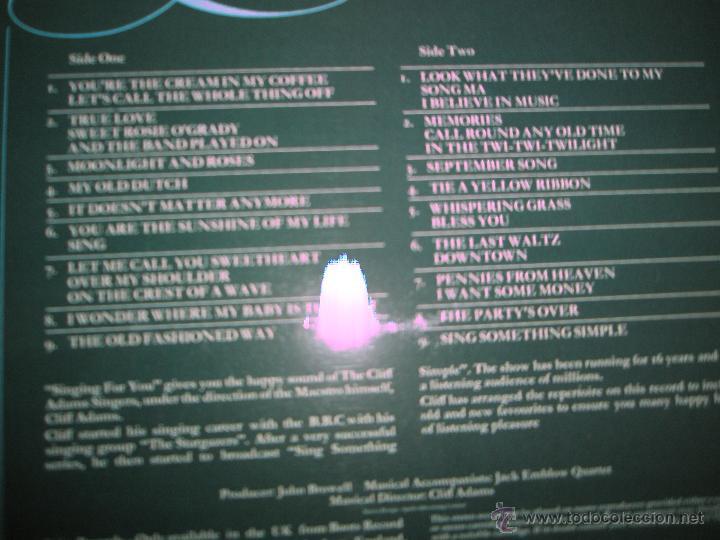 Discos de vinilo: LP-VINILO-GRAN BRETAÑA-SINGING FOR YOU-CLIFF ADAMS SINGERS-SPIRE-SSR 75/1-18 TEMAS-1975-VER F. - Foto 4 - 43862588