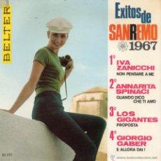 Discos de vinilo: EXITOS DE SAN REMO 1967, EP, LOS GIGANTES - PROPOSTA + 3, AÑO 1967. Lote 43863967