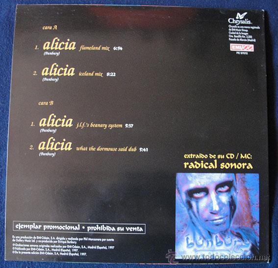 Discos de vinilo: ENRIQUE BUNBURY - Alicia (expulsada del país de las maravillas) - Maxi Single Promo Rareza - Foto 2 - 43899757