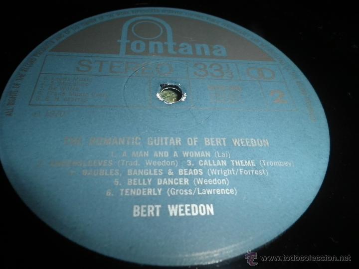Discos de vinilo: BERT WEEDON - THE ROMANTIC GUITAR LP - ORIGINAL INGLES - FONTANA RECORDS 1970 - STEREO - - Foto 17 - 43923269