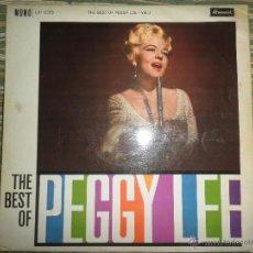 Discos de vinilo: PEGGY LEE - THE BEST OF VOL. 1 LP - ORIGINAL INGLES - BRUNSWICK RECORDS 1960 - MONO -.. Lote 43953196