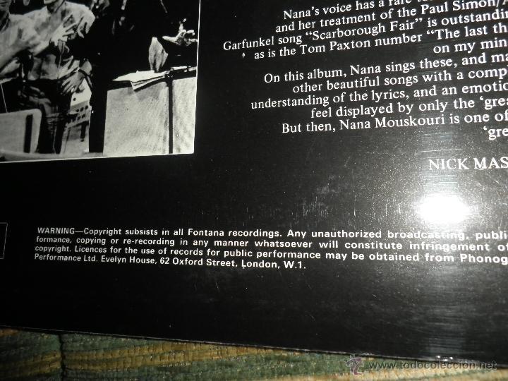 Discos de vinilo: NANA MOUSKOURI - OVER & OVER LP - ORIGINAL INGLES - FONTANA RECORDS 1969 - STEREO - - Foto 5 - 43953762