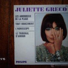 Discos de vinilo: JULIETTE GRECO -LES AMOUREUX DE LA PLAGE + 3 . Lote 43959136