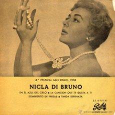 Disques de vinyle: NICLA DI BRUNO - FESTIVAL DE SAN REMO, EP, NEL BLU, DIPINTO DI BLU + 3, AÑO 1958. Lote 43990752