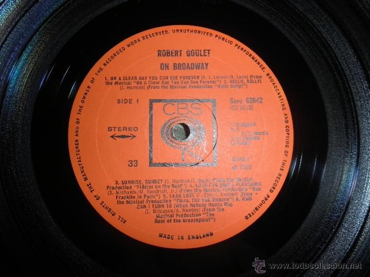 Discos de vinilo: ROBERT GOULET - ON BROADWAY LP - ORIGINAL INGLES - CBS RECORDS 1966 EN STEREO - - Foto 9 - 44002395