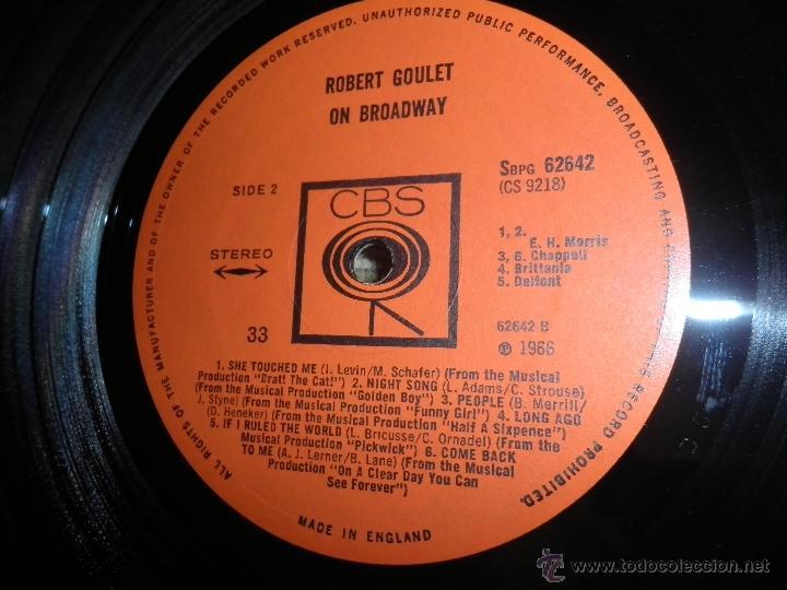 Discos de vinilo: ROBERT GOULET - ON BROADWAY LP - ORIGINAL INGLES - CBS RECORDS 1966 EN STEREO - - Foto 13 - 44002395