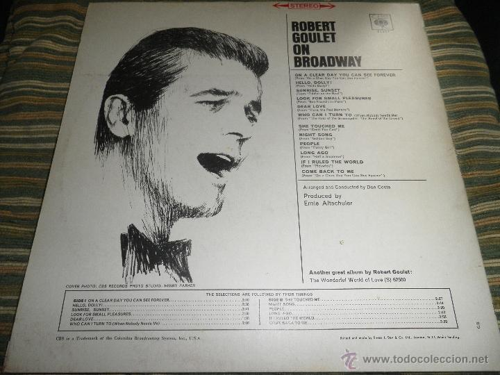 Discos de vinilo: ROBERT GOULET - ON BROADWAY LP - ORIGINAL INGLES - CBS RECORDS 1966 EN STEREO - - Foto 16 - 44002395
